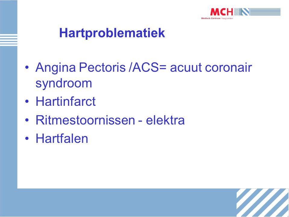 Hartproblematiek Angina Pectoris /ACS= acuut coronair syndroom Hartinfarct Ritmestoornissen - elektra Hartfalen