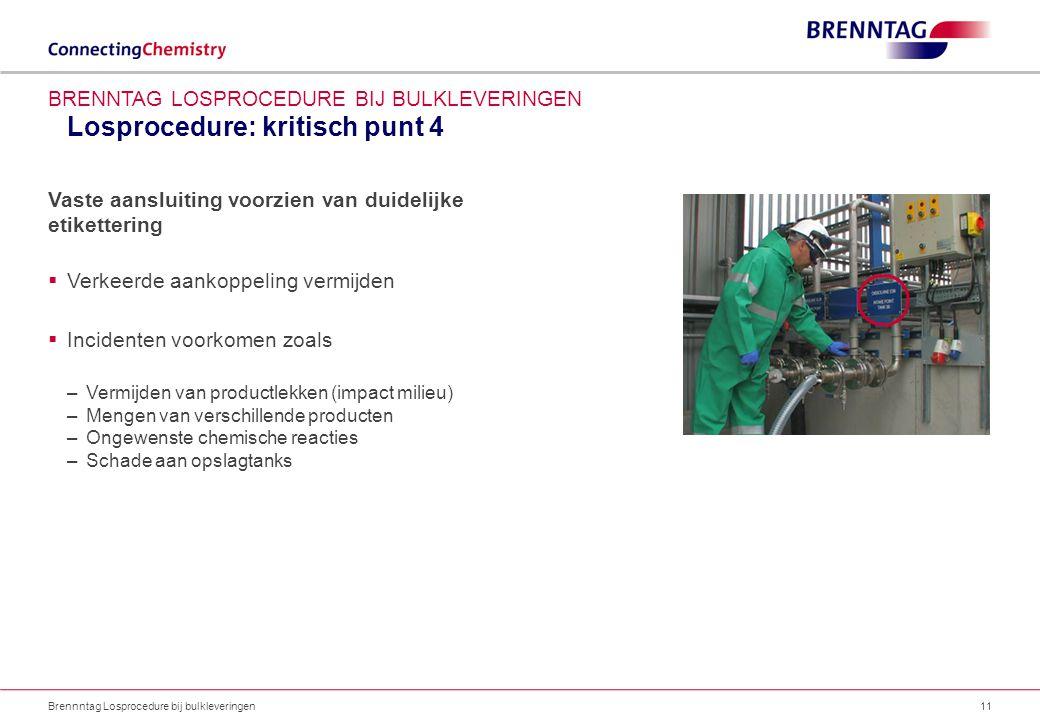 Losprocedure: kritisch punt 4 Brennntag Losprocedure bij bulkleveringen11 BRENNTAG LOSPROCEDURE BIJ BULKLEVERINGEN Vaste aansluiting voorzien van duid