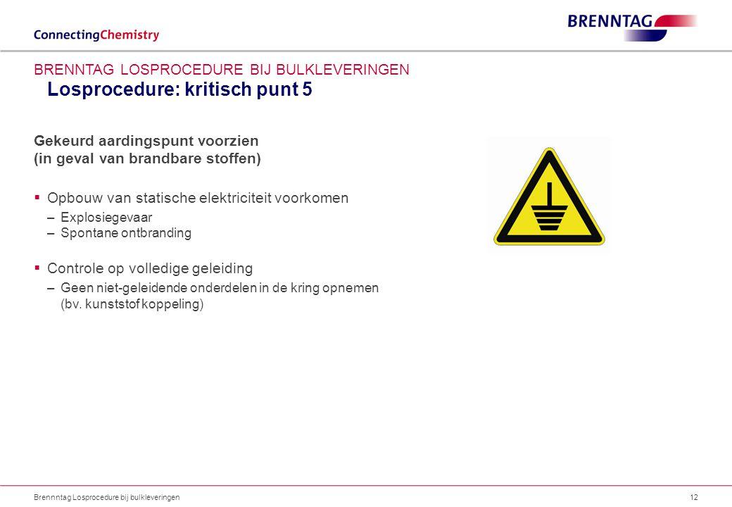Losprocedure: kritisch punt 5 Brennntag Losprocedure bij bulkleveringen12 BRENNTAG LOSPROCEDURE BIJ BULKLEVERINGEN Gekeurd aardingspunt voorzien (in g