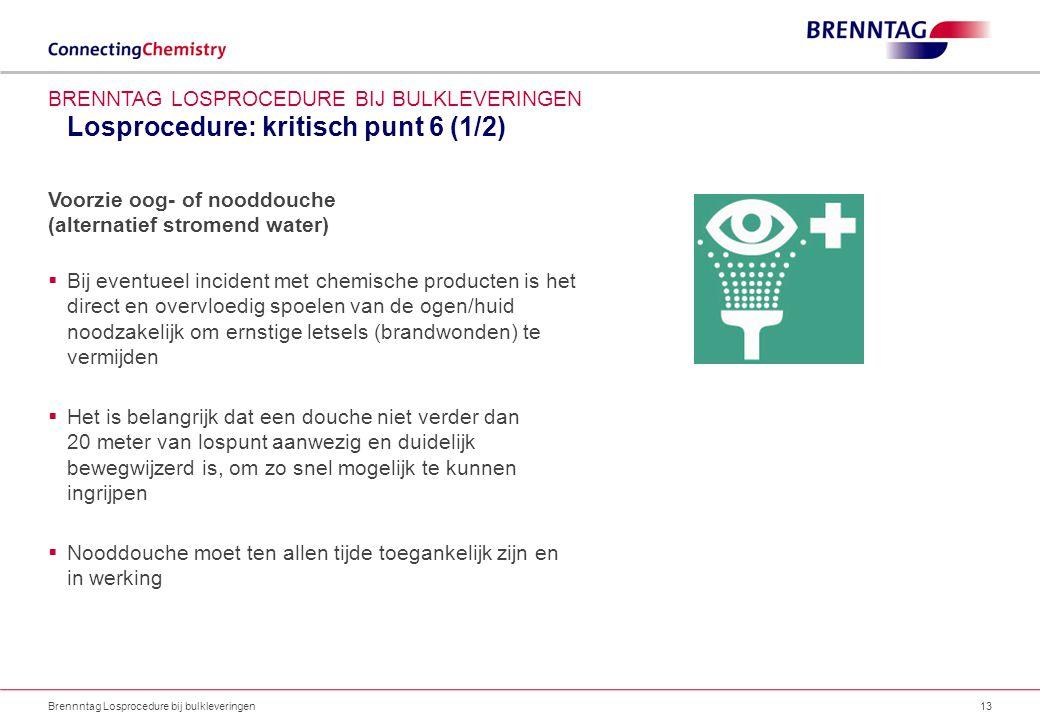 Losprocedure: kritisch punt 6 (1/2) Brennntag Losprocedure bij bulkleveringen13 BRENNTAG LOSPROCEDURE BIJ BULKLEVERINGEN Voorzie oog- of nooddouche (a