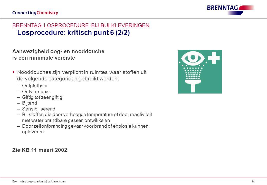 Losprocedure: kritisch punt 6 (2/2) Brennntag Losprocedure bij bulkleveringen14 BRENNTAG LOSPROCEDURE BIJ BULKLEVERINGEN Aanwezigheid oog- en nooddouc