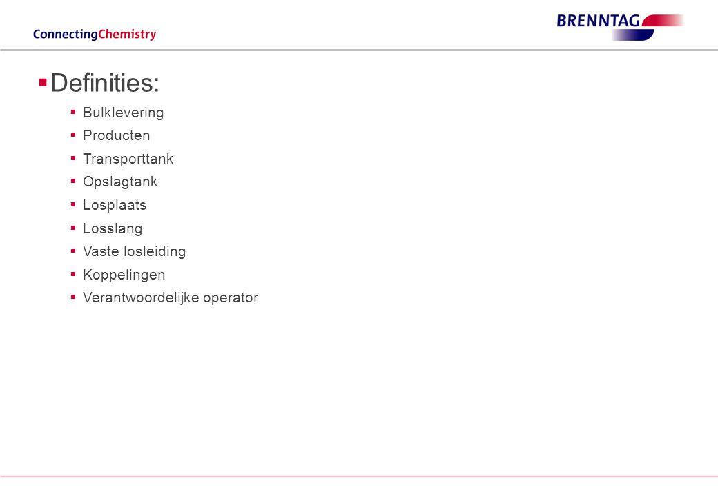 Losprocedure: kritisch punt 6 (2/2) Brennntag Losprocedure bij bulkleveringen14 BRENNTAG LOSPROCEDURE BIJ BULKLEVERINGEN Aanwezigheid oog- en nooddouche is een minimale vereiste  Nooddouches zijn verplicht in ruimtes waar stoffen uit de volgende categorieën gebruikt worden: –Ontplofbaar –Ontvlambaar –Giftig tot zeer giftig –Bijtend –Sensibiliserend –Bij stoffen die door verhoogde temperatuur of door reactiviteit met water brandbare gassen ontwikkelen –Door zelfontbranding gevaar voor brand of explosie kunnen opleveren Zie KB 11 maart 2002