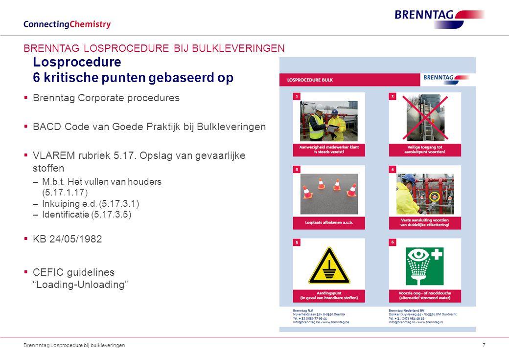 Losprocedure 6 kritische punten gebaseerd op Brennntag Losprocedure bij bulkleveringen7 BRENNTAG LOSPROCEDURE BIJ BULKLEVERINGEN  Brenntag Corporate