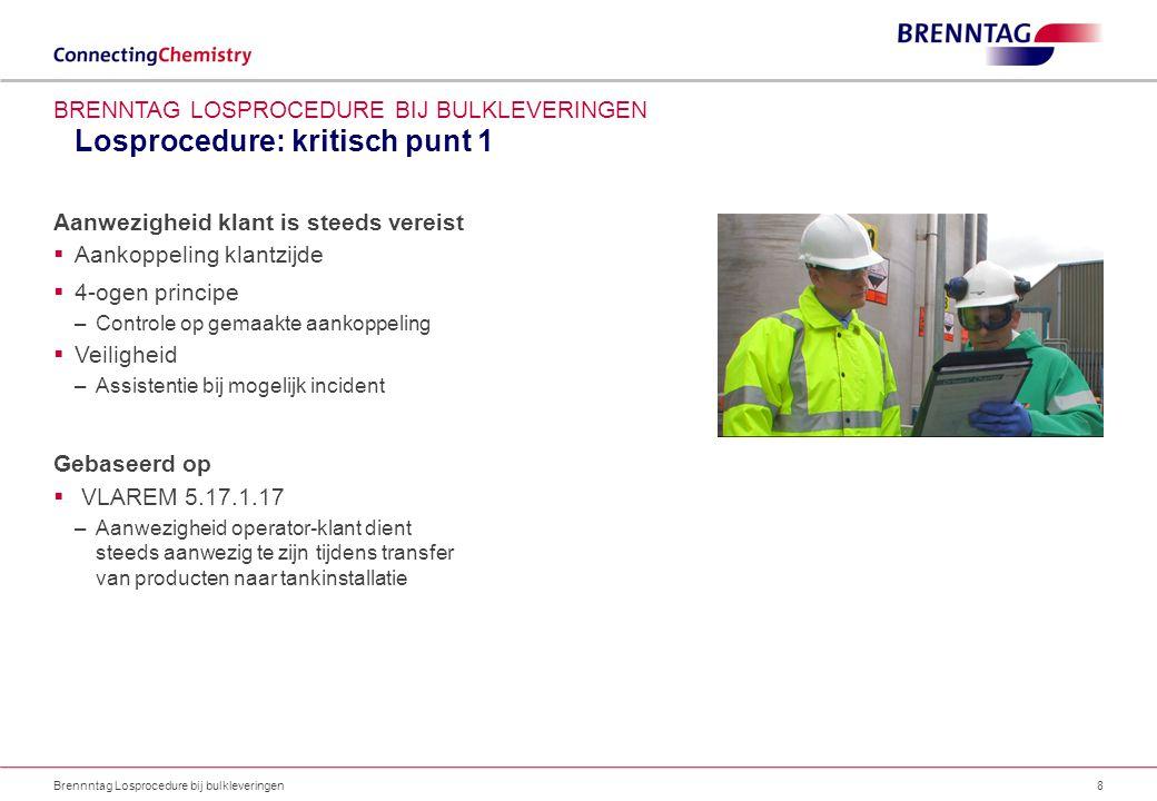 Losprocedure: kritisch punt 2 Brennntag Losprocedure bij bulkleveringen9 BRENNTAG LOSPROCEDURE BIJ BULKLEVERINGEN Veilige toegang tot aansluitpunt voorzien  Tanks moeten kunnen worden aangesloten vanop begane grond of vanop een veilig te betreden oppervlak –Geen toegang via ladders  Slang mag geen knik vertonen Gebaseerd op  KB 31/08/2005 i.v.m.