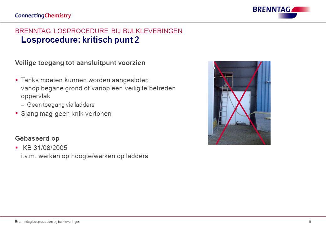 Losprocedure: kritisch punt 3 Brennntag Losprocedure bij bulkleveringen10 BRENNTAG LOSPROCEDURE BIJ BULKLEVERINGEN Losplaats afbakenen  Duidelijke signalisatie –Geen doorgang voor onbevoegden in loszone Duidelijk maken lossen van chemicaliën aan de gang