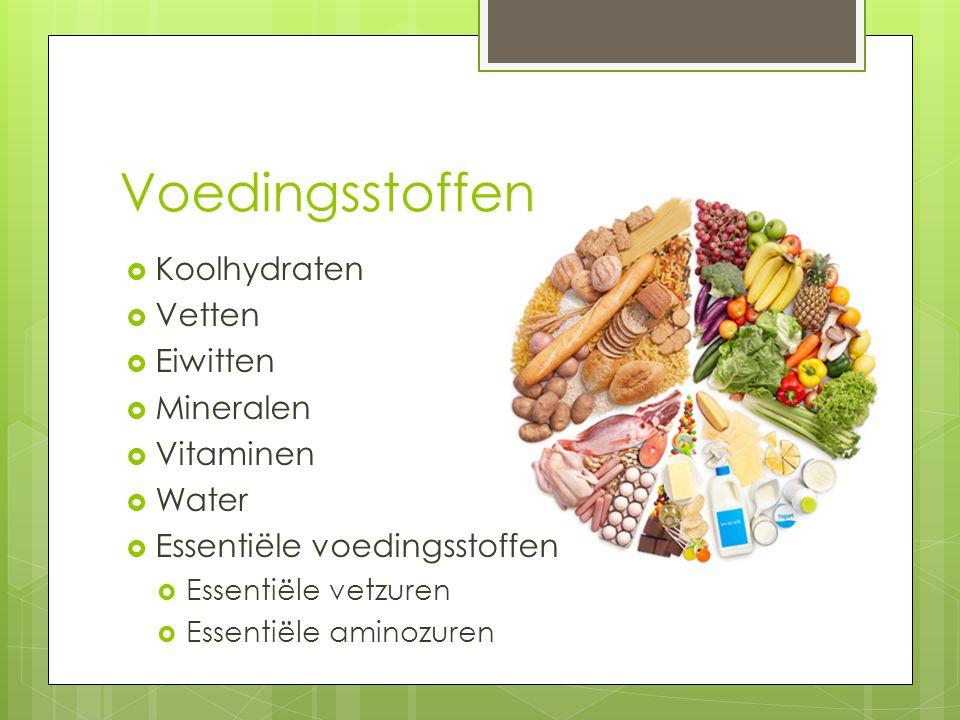 Voedingsstoffen  Koolhydraten  Vetten  Eiwitten  Mineralen  Vitaminen  Water  Essentiële voedingsstoffen  Essentiële vetzuren  Essentiële ami