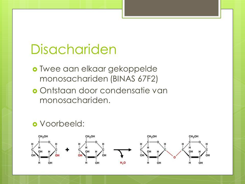 Disachariden  Twee aan elkaar gekoppelde monosachariden (BINAS 67F2)  Ontstaan door condensatie van monosachariden.  Voorbeeld:
