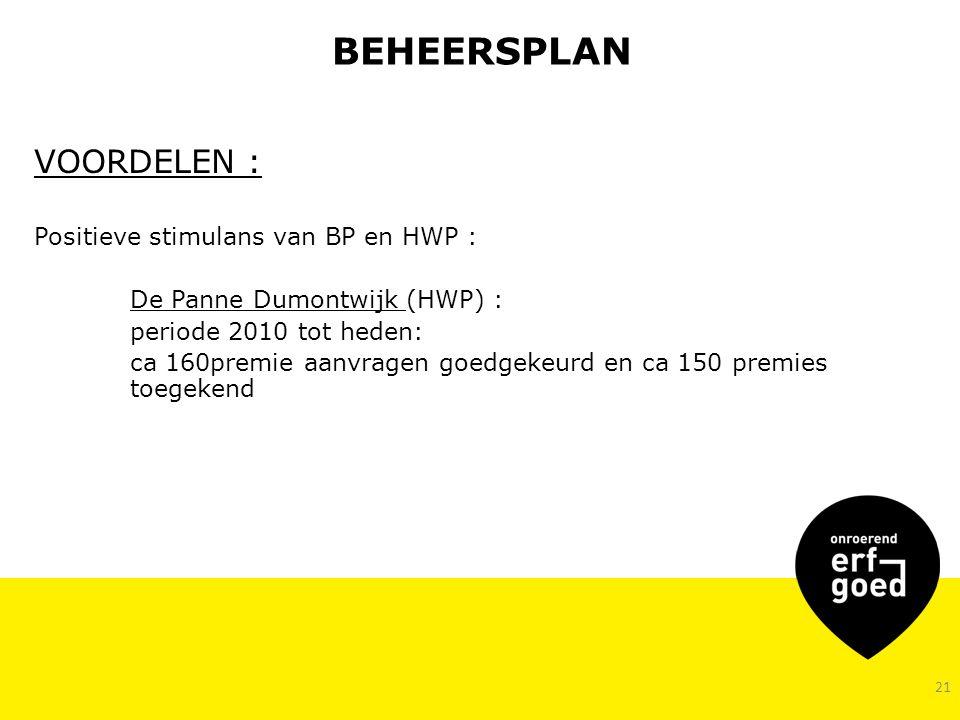 BEHEERSPLAN VOORDELEN : Positieve stimulans van BP en HWP : De Panne Dumontwijk (HWP) : periode 2010 tot heden: ca 160premie aanvragen goedgekeurd en ca 150 premies toegekend 21