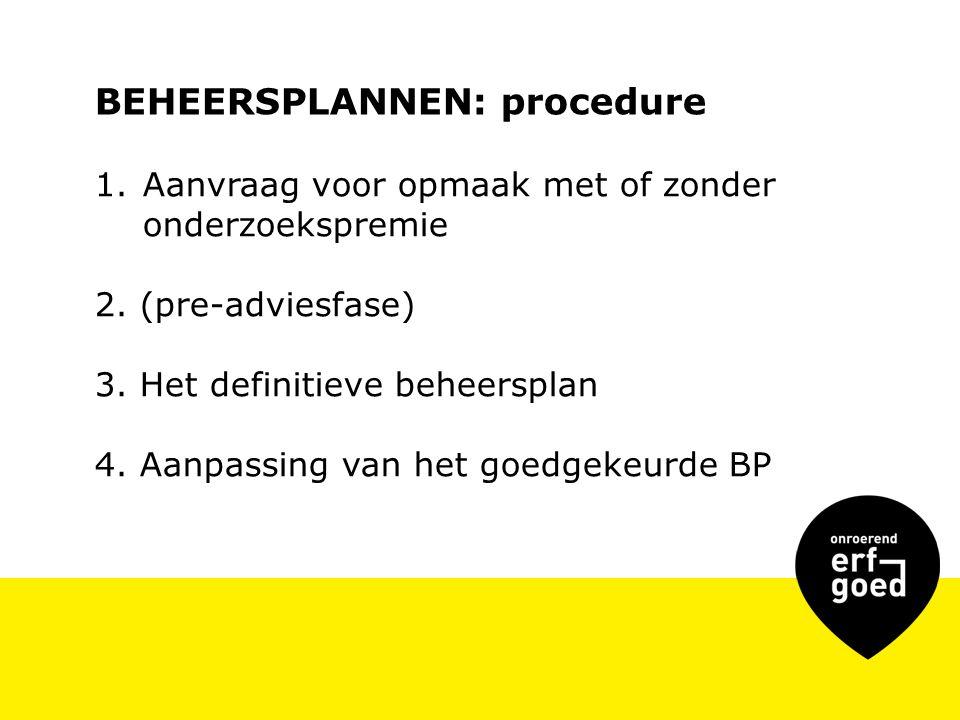 BEHEERSPLANNEN: procedure 1.Aanvraag voor opmaak met of zonder onderzoekspremie 2.