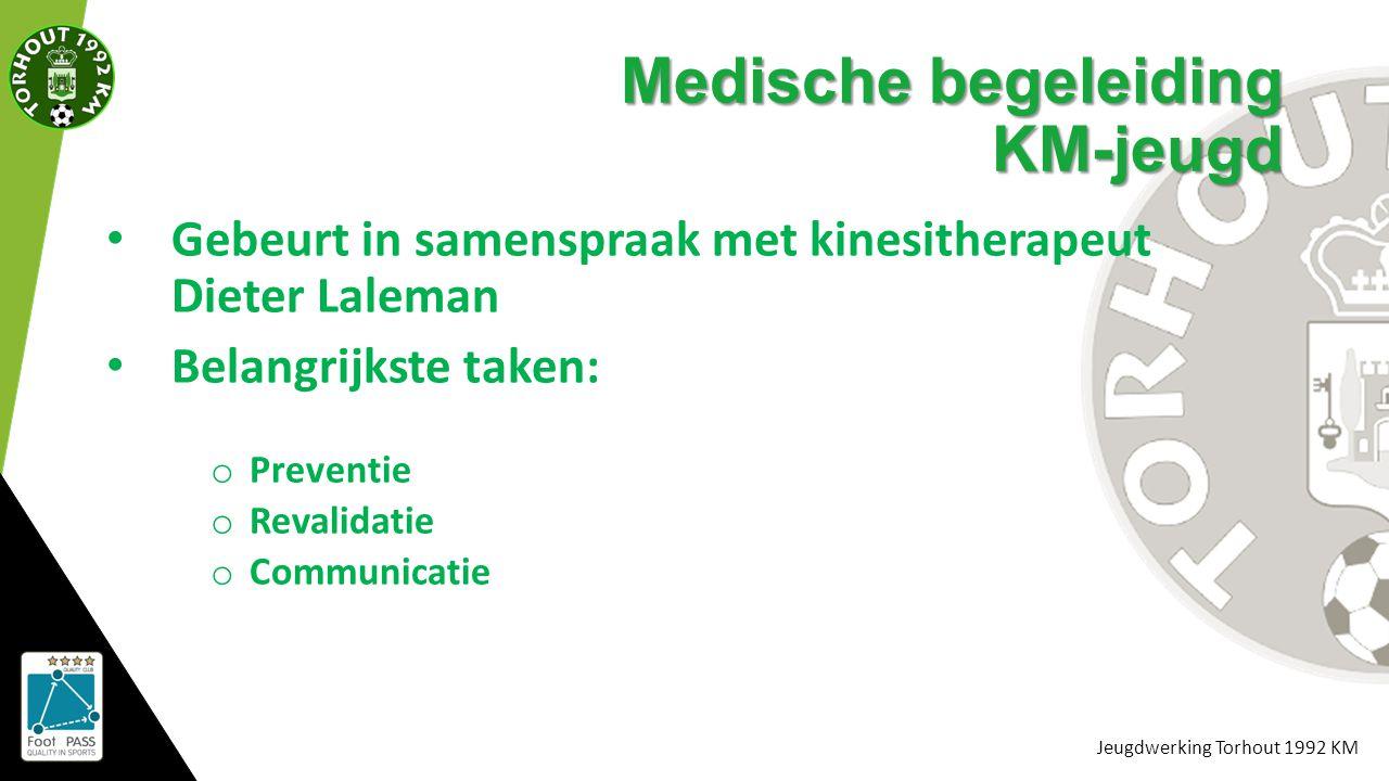Jeugdwerking Torhout 1992 KM Medische begeleiding KM-jeugd Gebeurt in samenspraak met kinesitherapeut Dieter Laleman Belangrijkste taken: o Preventie