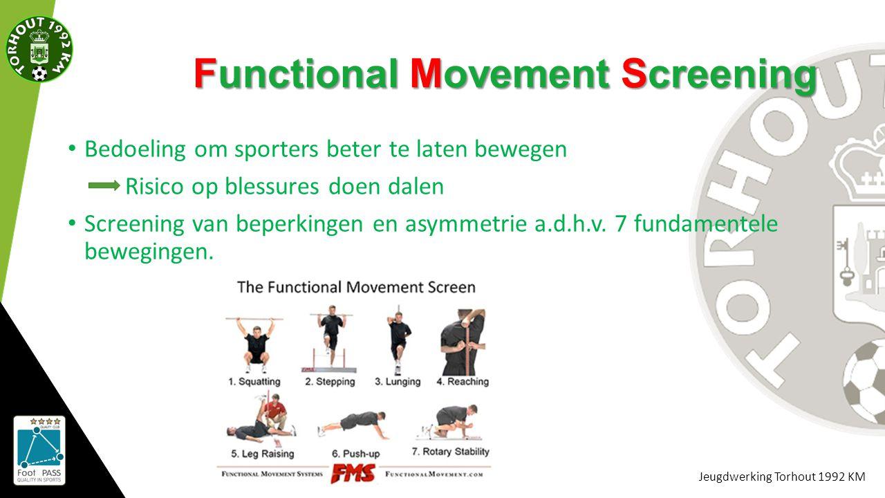 Jeugdwerking Torhout 1992 KM Functional Movement Screening Bedoeling om sporters beter te laten bewegen Risico op blessures doen dalen Screening van b