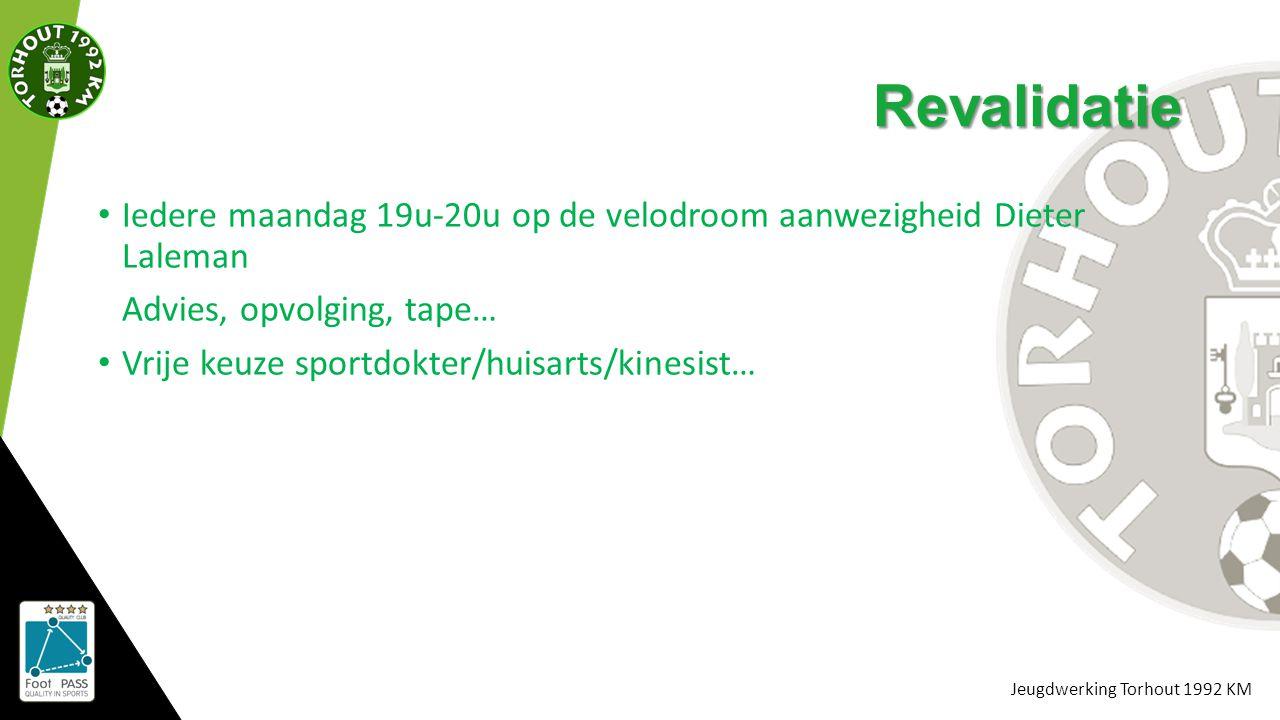 Jeugdwerking Torhout 1992 KM Revalidatie Iedere maandag 19u-20u op de velodroom aanwezigheid Dieter Laleman Advies, opvolging, tape… Vrije keuze sport