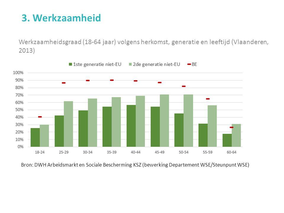 Werkzaamheidsgraad (18-64 jaar) volgens herkomst, generatie en leeftijd (Vlaanderen, 2013) 3.