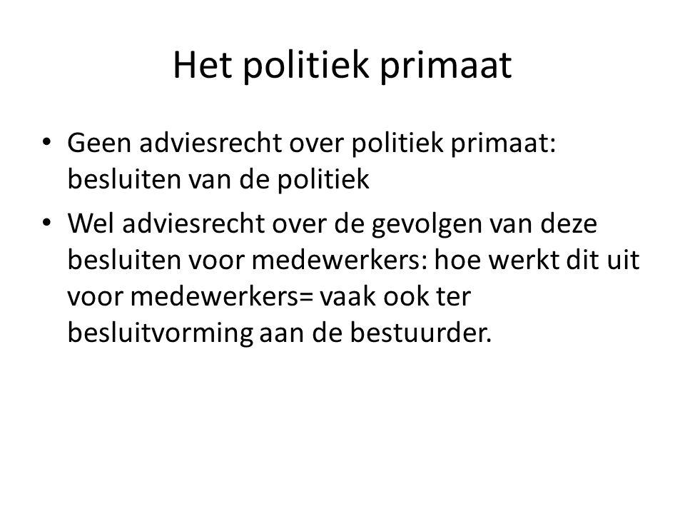 Het politiek primaat Geen adviesrecht over politiek primaat: besluiten van de politiek Wel adviesrecht over de gevolgen van deze besluiten voor medewe