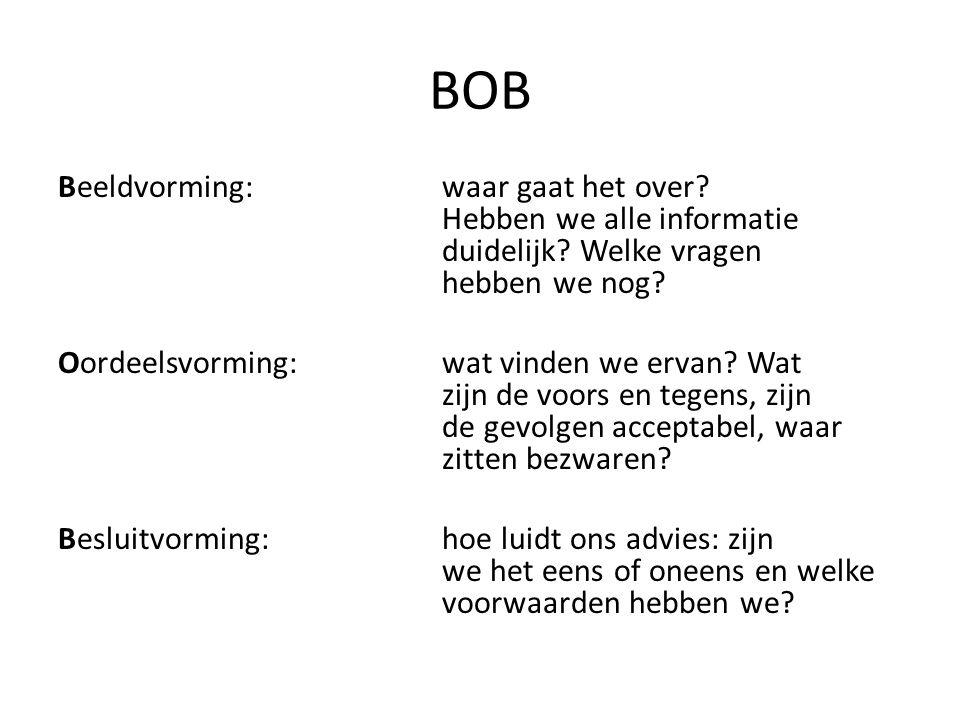 BOB Beeldvorming: waar gaat het over? Hebben we alle informatie duidelijk? Welke vragen hebben we nog? Oordeelsvorming:wat vinden we ervan? Wat zijn d