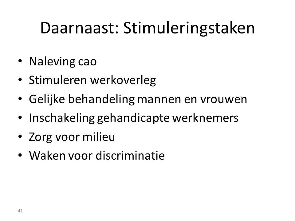 Daarnaast: Stimuleringstaken Naleving cao Stimuleren werkoverleg Gelijke behandeling mannen en vrouwen Inschakeling gehandicapte werknemers Zorg voor milieu Waken voor discriminatie 41
