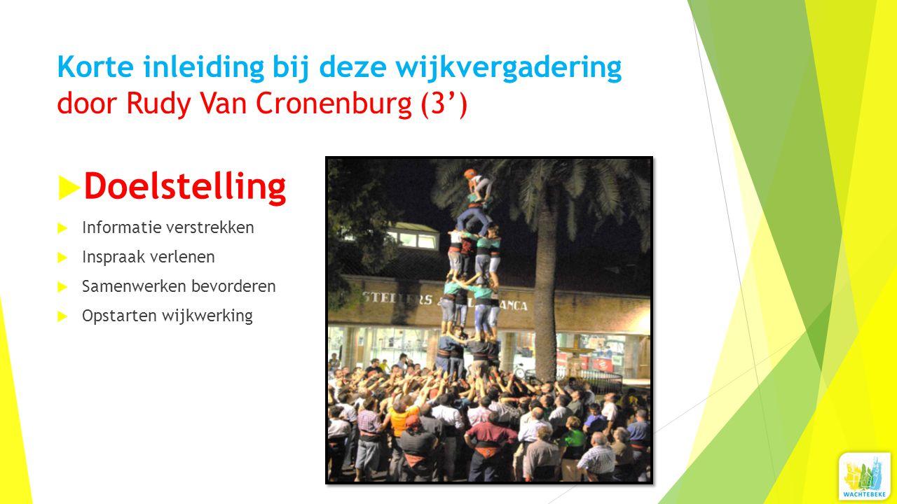 Korte inleiding bij deze wijkvergadering door Rudy Van Cronenburg (3')  Doelstelling  Informatie verstrekken  Inspraak verlenen  Samenwerken bevorderen  Opstarten wijkwerking