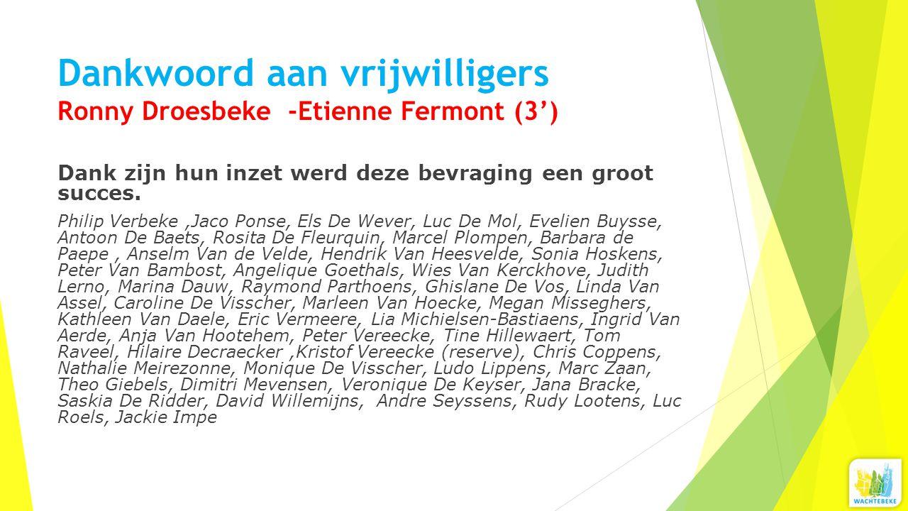 Dankwoord aan vrijwilligers Ronny Droesbeke -Etienne Fermont (3') Dank zijn hun inzet werd deze bevraging een groot succes. Philip Verbeke,Jaco Ponse,