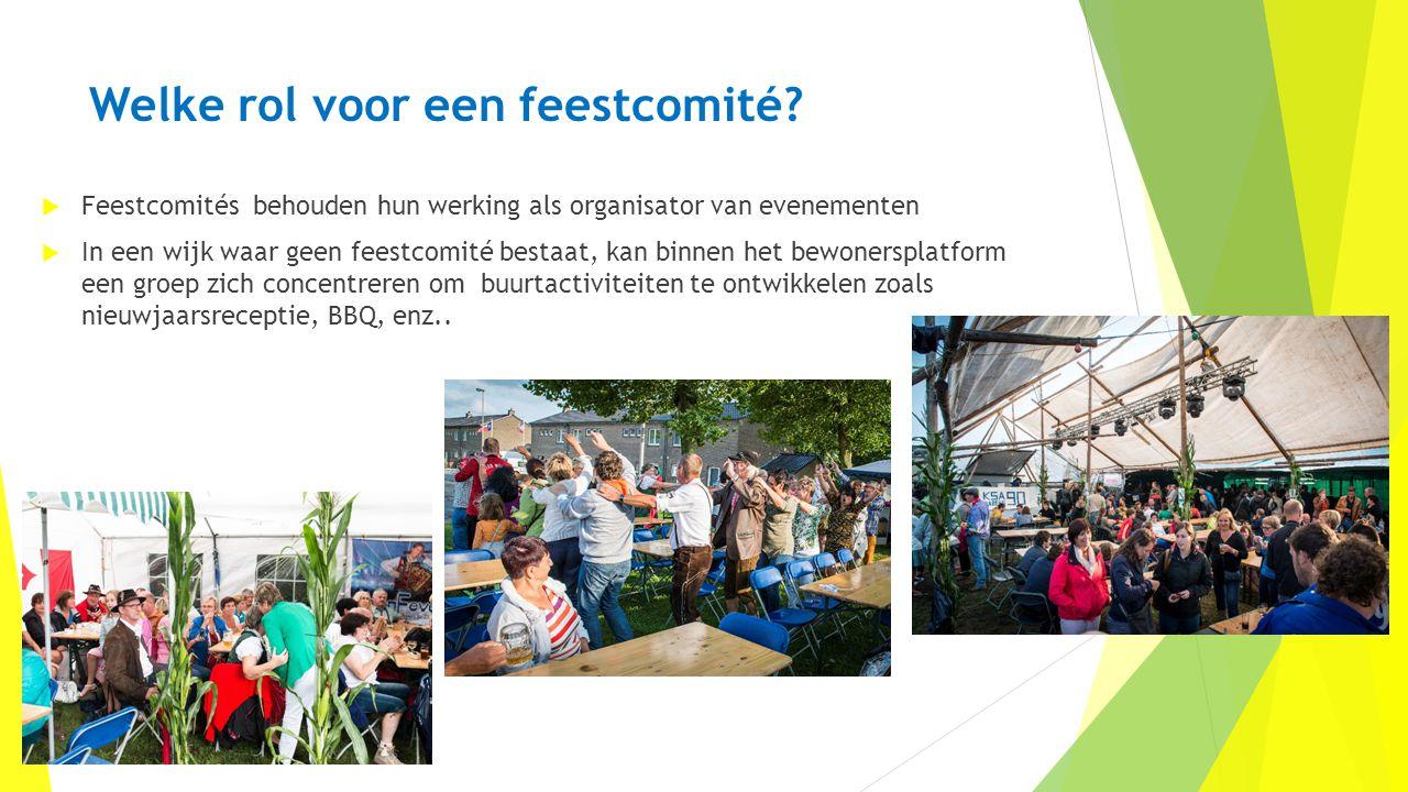 Welke rol voor een feestcomité?  Feestcomités behouden hun werking als organisator van evenementen  In een wijk waar geen feestcomité bestaat, kan b