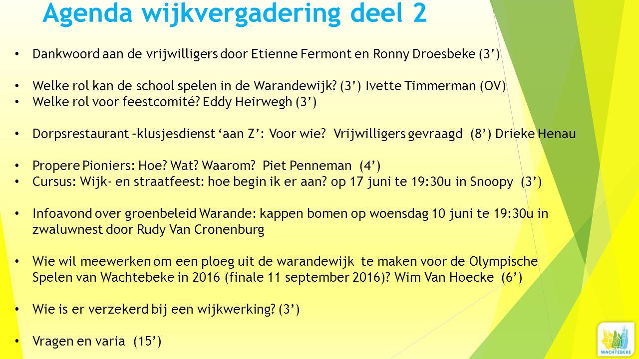 Agenda wijkvergadering deel 2 Dankwoord aan de vrijwilligers door Etienne Fermont en Ronny Droesbeke (3') Welke rol kan de school spelen in de Warandewijk.