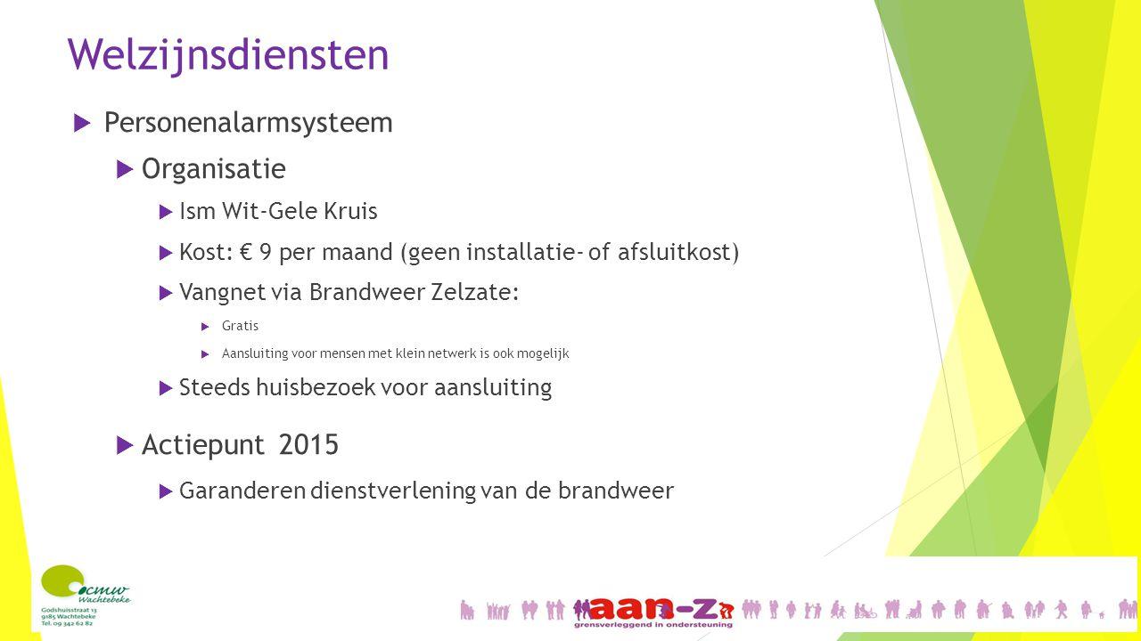 Welzijnsdiensten  Personenalarmsysteem  Organisatie  Ism Wit-Gele Kruis  Kost: € 9 per maand (geen installatie- of afsluitkost)  Vangnet via Bran