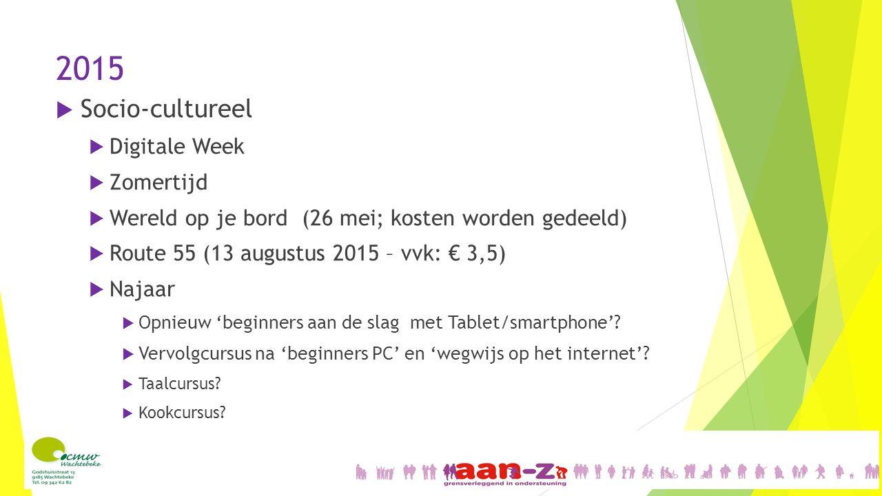 2015  Socio-cultureel  Digitale Week  Zomertijd  Wereld op je bord (26 mei; kosten worden gedeeld)  Route 55 (13 augustus 2015 – vvk: € 3,5)  Najaar  Opnieuw 'beginners aan de slag met Tablet/smartphone'.