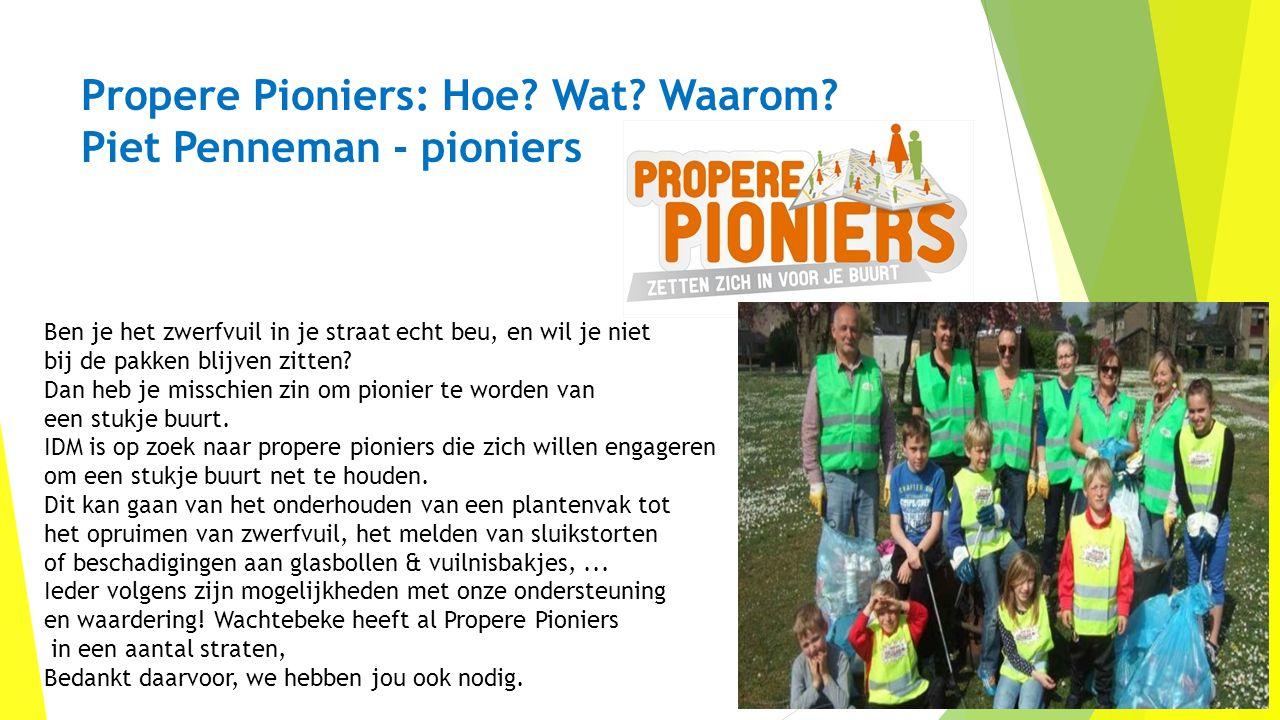 Propere Pioniers: Hoe? Wat? Waarom? Piet Penneman - pioniers Ben je het zwerfvuil in je straat echt beu, en wil je niet bij de pakken blijven zitten?