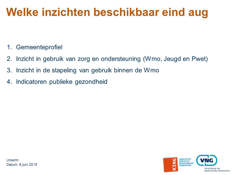 1.Gemeenteprofiel 2.Inzicht in gebruik van zorg en ondersteuning (Wmo, Jeugd en Pwet) 3.Inzicht in de stapeling van gebruik binnen de Wmo 4.Indicatoren publieke gezondheid Utrecht Datum: 8 juni 2015 Welke inzichten beschikbaar eind aug