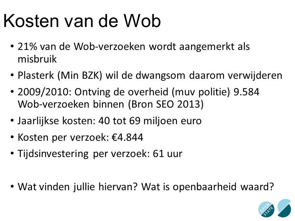 Kosten van de Wob 21% van de Wob-verzoeken wordt aangemerkt als misbruik Plasterk (Min BZK) wil de dwangsom daarom verwijderen 2009/2010: Ontving de o