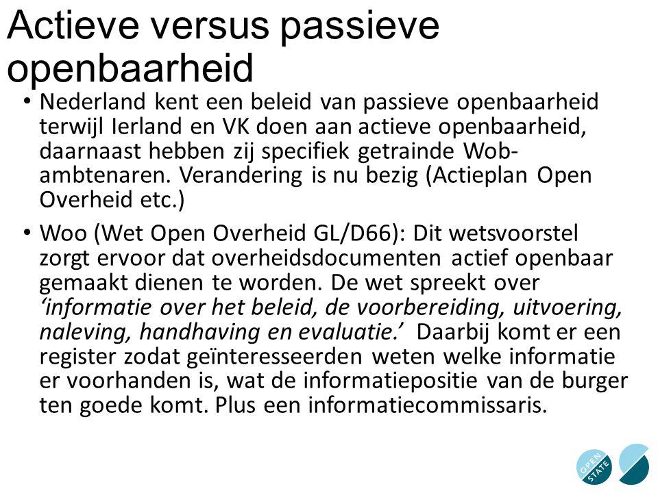 Actieve versus passieve openbaarheid Nederland kent een beleid van passieve openbaarheid terwijl Ierland en VK doen aan actieve openbaarheid, daarnaas