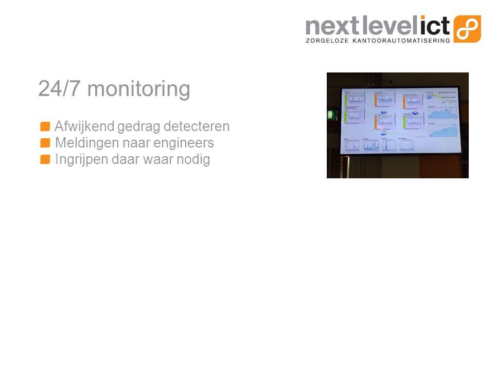 24/7 monitoring Afwijkend gedrag detecteren Meldingen naar engineers Ingrijpen daar waar nodig