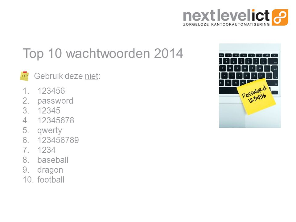 Top 10 wachtwoorden 2014 Gebruik deze niet: 1.123456 2.password 3.12345 4.12345678 5.qwerty 6.123456789 7.1234 8.baseball 9.dragon 10.football