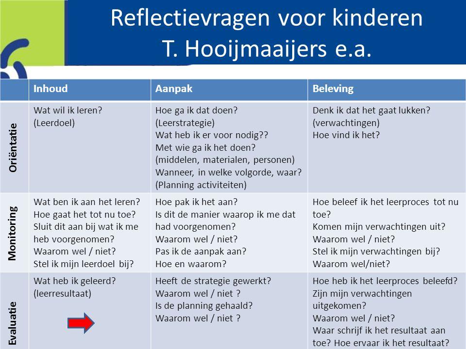 Reflectievragen voor kinderen T.Hooijmaaijers e.a.