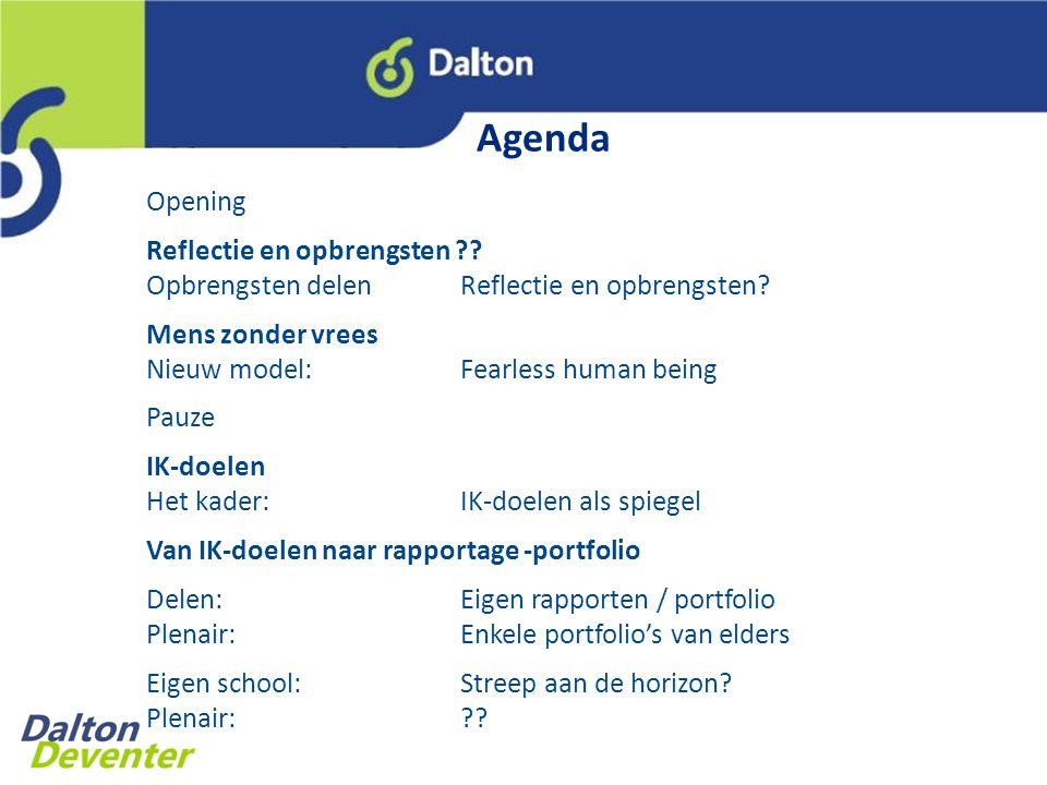 Agenda Opening Reflectie en opbrengsten ?.Opbrengsten delenReflectie en opbrengsten.