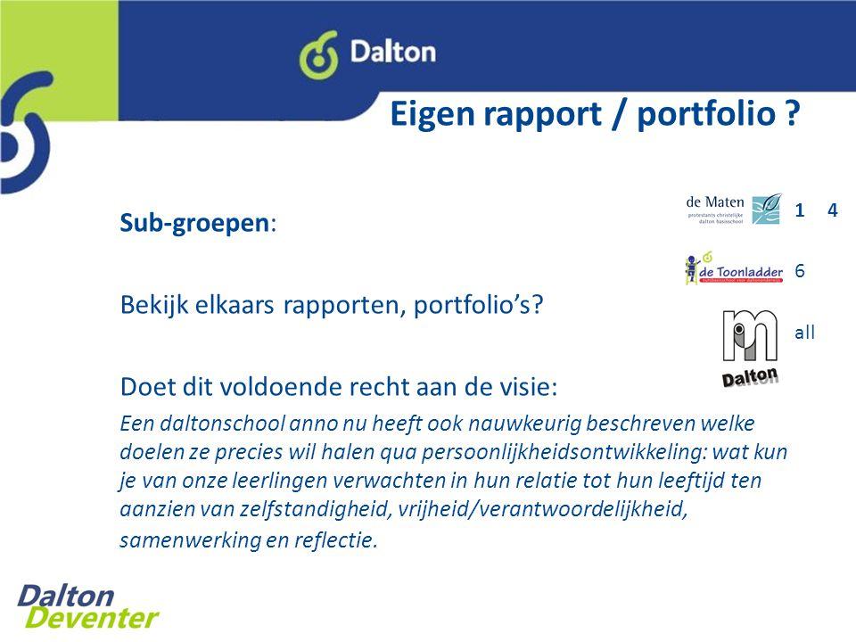 Eigen rapport / portfolio .Sub-groepen: Bekijk elkaars rapporten, portfolio's.