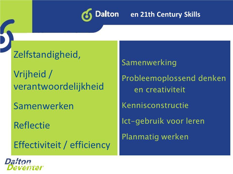 en 21th Century Skills Zelfstandigheid, Vrijheid / verantwoordelijkheid Samenwerken Reflectie Effectiviteit / efficiency Borgen Samenwerking Probleemoplossend denken en creativiteit Kennisconstructie Ict-gebruik voor leren Planmatig werken