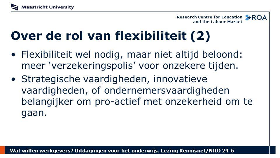 Wat willen werkgevers? Uitdagingen voor het onderwijs. Lezing Kennisnet/NRO 24-6 Research Centre for Education and the Labour Market Over de rol van f