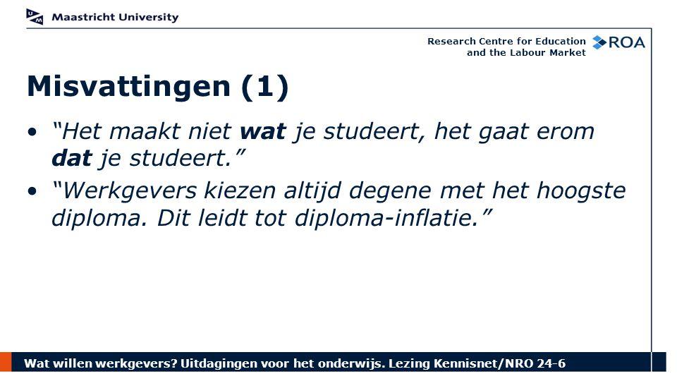 """Wat willen werkgevers? Uitdagingen voor het onderwijs. Lezing Kennisnet/NRO 24-6 Research Centre for Education and the Labour Market """"Het maakt niet w"""