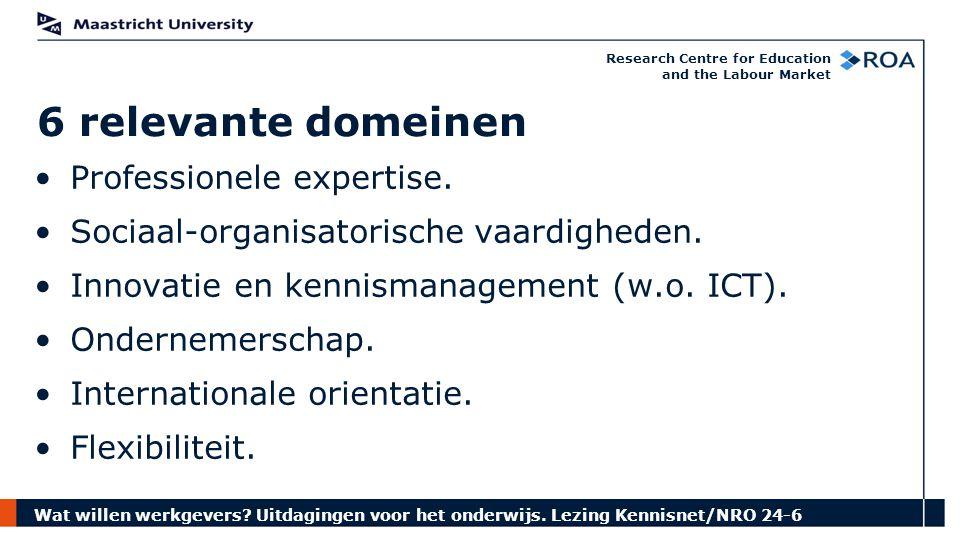 Wat willen werkgevers? Uitdagingen voor het onderwijs. Lezing Kennisnet/NRO 24-6 Research Centre for Education and the Labour Market 6 relevante domei