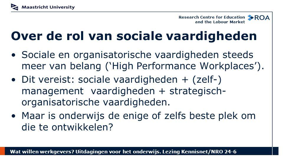 Wat willen werkgevers? Uitdagingen voor het onderwijs. Lezing Kennisnet/NRO 24-6 Research Centre for Education and the Labour Market Sociale en organi