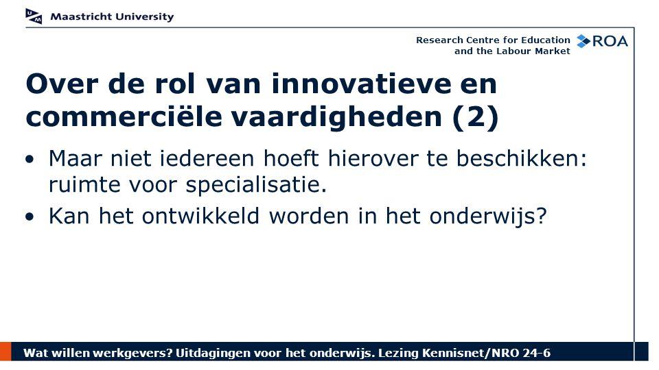 Wat willen werkgevers? Uitdagingen voor het onderwijs. Lezing Kennisnet/NRO 24-6 Research Centre for Education and the Labour Market Maar niet iederee
