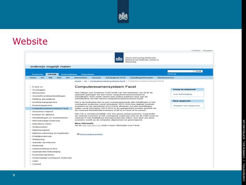 CONFIDENTEEL / COMMERCIEEL VERTROUWELIJK 9 Website