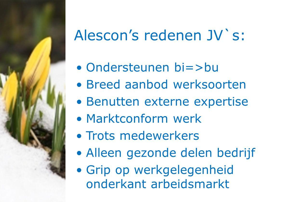 Alescon's redenen JV`s: Ondersteunen bi=>bu Breed aanbod werksoorten Benutten externe expertise Marktconform werk Trots medewerkers Alleen gezonde delen bedrijf Grip op werkgelegenheid onderkant arbeidsmarkt