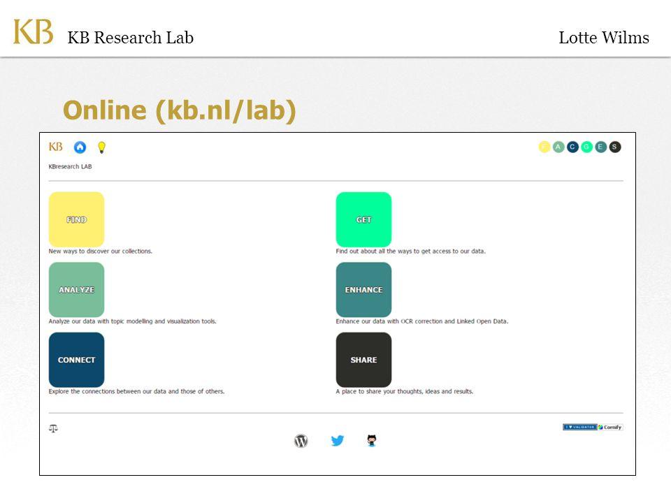 Online (kb.nl/lab) KB Research LabLotte Wilms