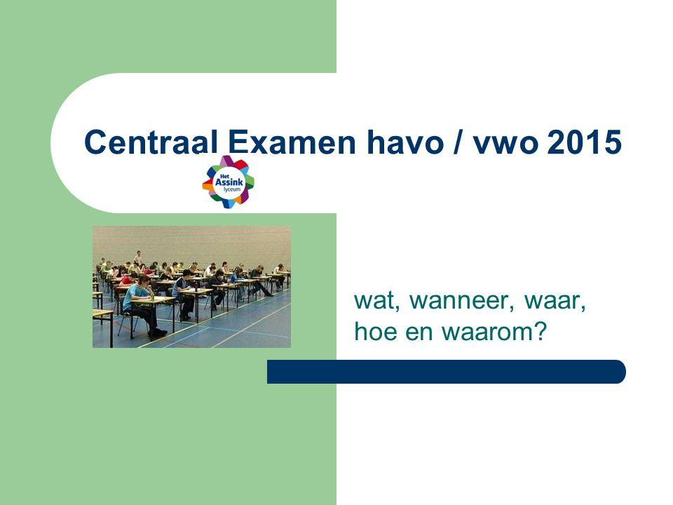 Centraal Examen havo / vwo 2015 wat, wanneer, waar, hoe en waarom?