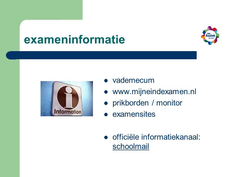 exameninformatie vademecum www.mijneindexamen.nl prikborden / monitor examensites officiële informatiekanaal: schoolmail