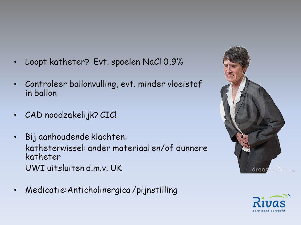 Loopt katheter? Evt. spoelen NaCl 0,9% Controleer ballonvulling, evt. minder vloeistof in ballon CAD noodzakelijk? CIC! Bij aanhoudende klachten: kath