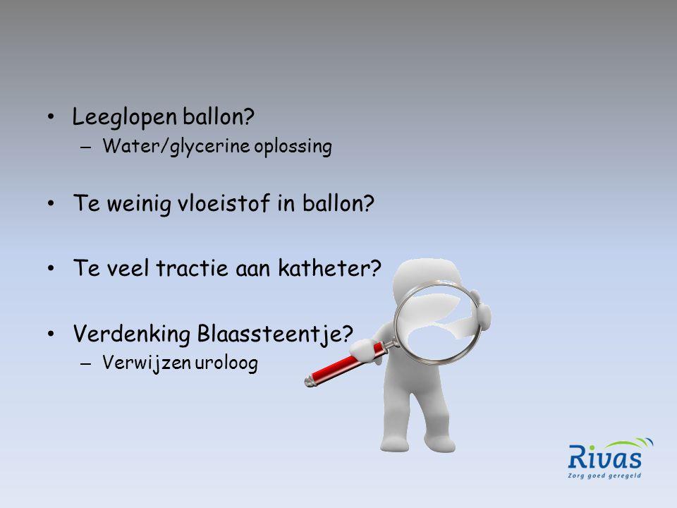 Leeglopen ballon? – Water/glycerine oplossing Te weinig vloeistof in ballon? Te veel tractie aan katheter? Verdenking Blaassteentje? – Verwijzen urolo