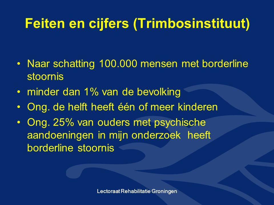 Feiten en cijfers (Trimbosinstituut) Naar schatting 100.000 mensen met borderline stoornis minder dan 1% van de bevolking Ong. de helft heeft één of m