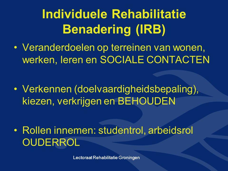 Individuele Rehabilitatie Benadering (IRB) Veranderdoelen op terreinen van wonen, werken, leren en SOCIALE CONTACTEN Verkennen (doelvaardigheidsbepali